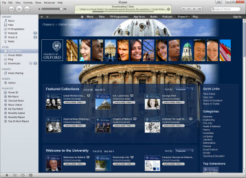 Screenshot of Oxford University on iTunesU