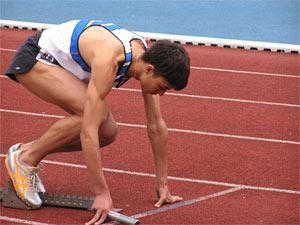 Runner on the starting blocks