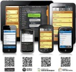 image of mobile devices and QR codes