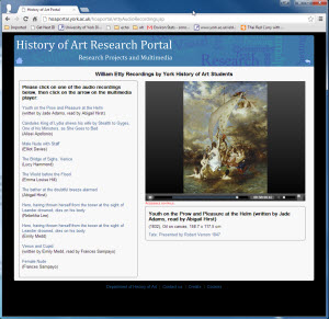 History of Art research portal screenshot
