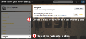 Screen shot of the twitter profile options, indicating the widget button.