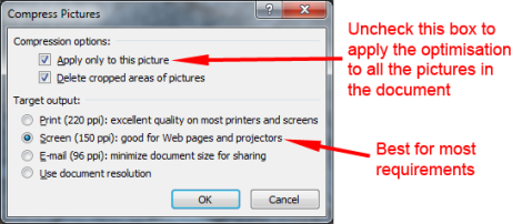 screen grab of the compress pictures option box