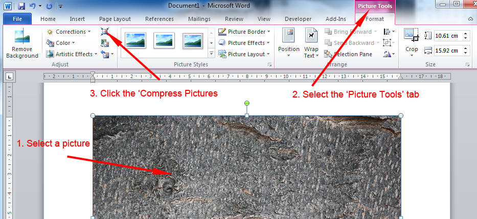 A Screen Grab Of The Word Interface Indicating Compress Picture Button