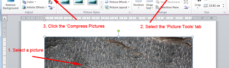 A screen grab of the word interface indicating the Compress Picture button