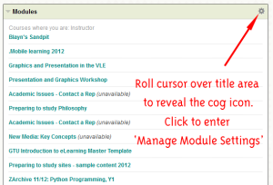 Screen shots of a module list indicating where to find the manage module settings icon.