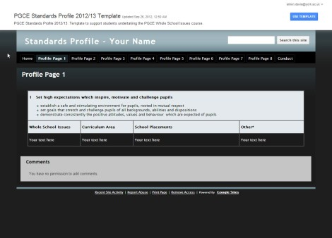 PGCE template screen shot