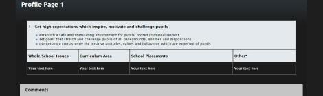 PGCE template screen shot
