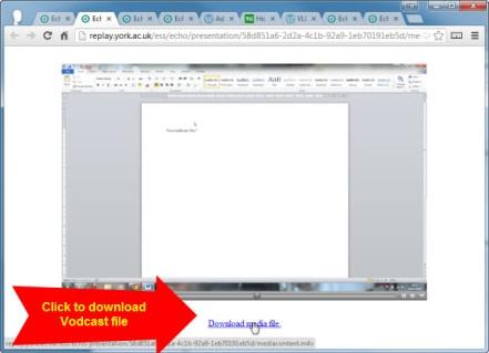 screenshot of download media file link