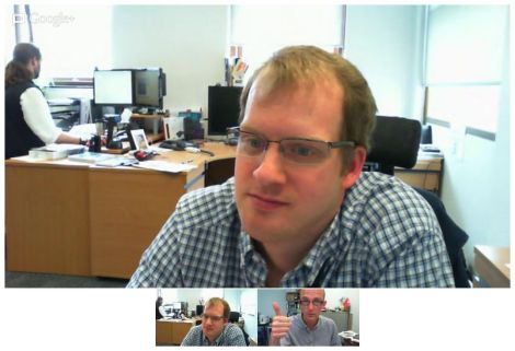 Screenshot of webcam shot in Google Hangout