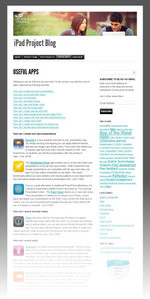 Screenshot of Apps list