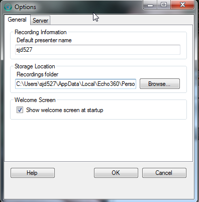 Options window showing location of echo recordings