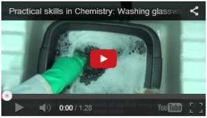 Screen shot of practical skills in chemistry video