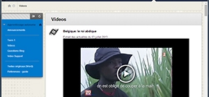Screen shot of the video section of Cathy Dantec's VLE site.