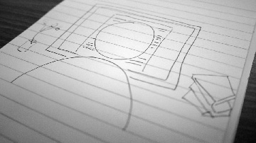Sketch drawing of someone reading documents on a computer