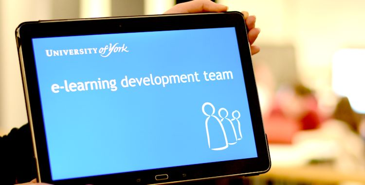 University of York E-Learning Development Team (Photo of the ELDT log on a tablet in the Library)