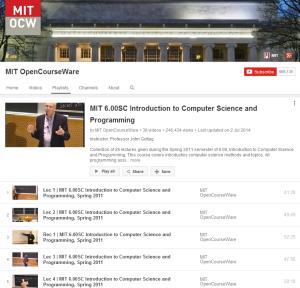 MIT OpenCourseWare playlist screenshot