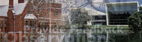 Photo montage featuring an image of Heslington Hall on the campus at the University of York and the performing arts buildings at The University of Waikato.