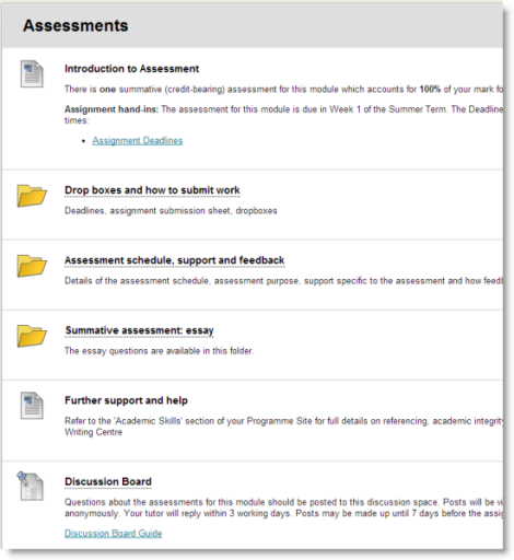 Screenshot of an example Assessments area on a module site in Yorkshare