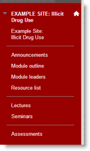 Screenshot of the Left Menu in a Blackboard VLE module site