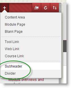 Screenshot of the instructor view of left menu: Add menu item + icon is clicked top left and Subheader and Divider options are highlighted in the menu