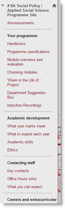 Screenshot of a Programme Site Left Menu: As an example, Academic Development is a subheader section containing links to What your marks mean, What to expect each year, Academic skills and Ethics.