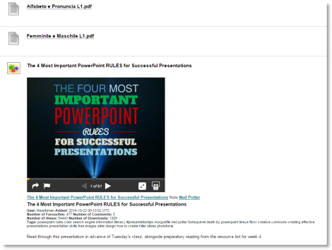 Screenshot showing a SlideShare presentation embedded within a content item.