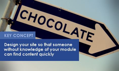 Key Concept: Design your site so that someone without knowledge of your module can find content quickly