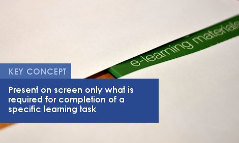 Key Concept: Present on screen only what is required for completion of a specific learning task