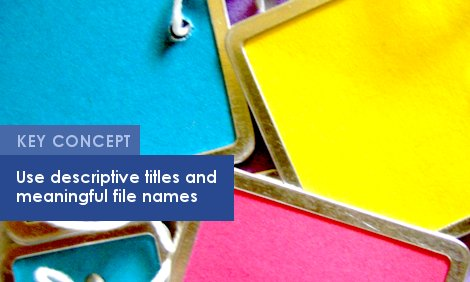 Key Concept: Use descriptive titles and meaningful file names