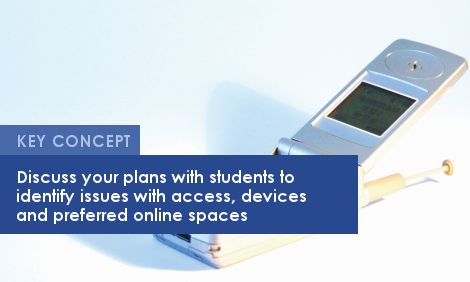 Key Concept: Discuss your plans with students to identify issues with access, devices and preferred online spaces