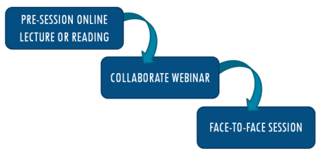 Pre-session online lecture or reading, then collaborate webinar, then face-to-face session
