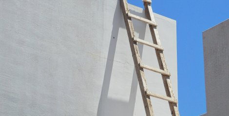 Ladder propped up against a wall (header image for Section 5 - Facilitating online activity)