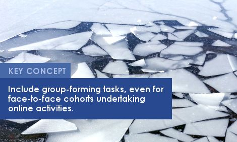 Key Concept: Include group-forming tasks, even for face-to-face cohorts undertaking online activities.