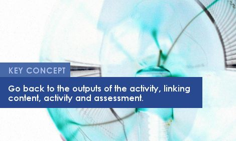 Key Concepts: Go back to the outputs of the activity, linking content, activity and assessment.