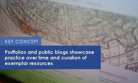 Key Concept: Portfolios and public blogs showcase practice over time and curation of exemplar resources.