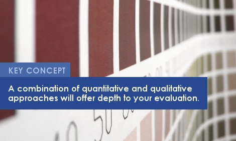 Key Concept: A combination of quantitative and qualitative approaches will offer depth to your evaluation.