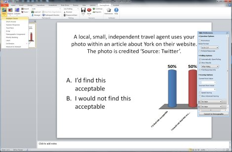 Screenshot of PowerPoint showing an example poll slide being created using the Turning Point toolbar
