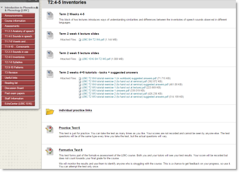 Screenshot of VLE module showing tests within a content area alongside other resources.