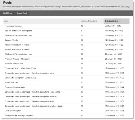 Screenshot of question pools