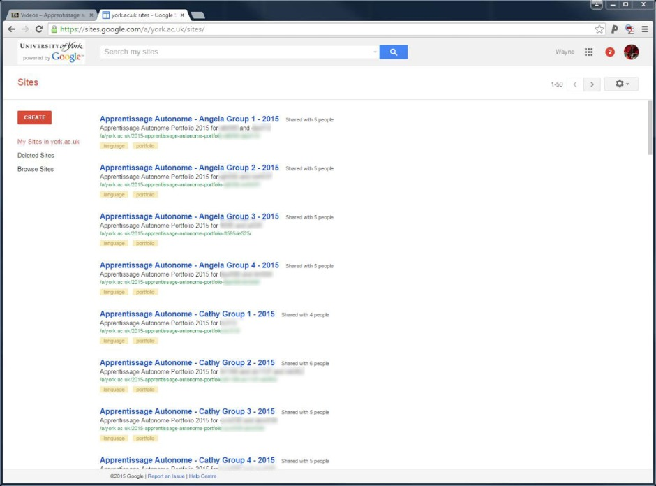 Screenshot of Google sites that were given to students