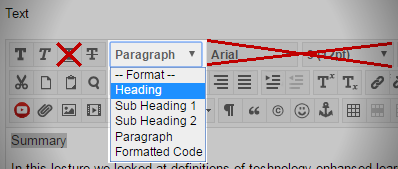Screenshot of Blackboard text editor with the Format drop down in the menu bar highlighted and Heading selected. The font and size options are crossed out, as is the underline option.