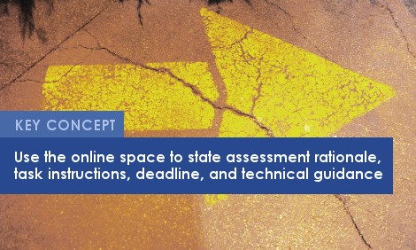 Key Concept: Use the online space to state assessment rationale, task instructions, deadline, and technical guidance.