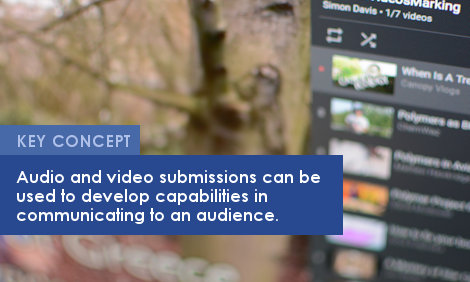 Key Concept: Audio and video submissions can be used to develop capabilities in communicating to an audience.