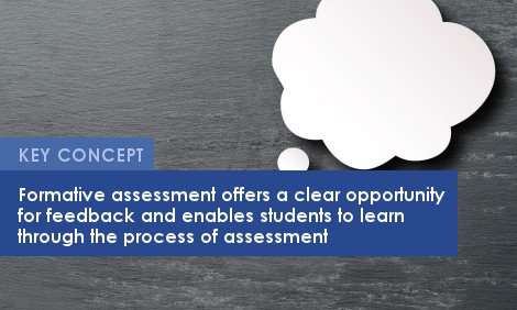 Key Concept: Formative assessment offers a clear opportunity for feedback and enables students to learn through the process of assessment