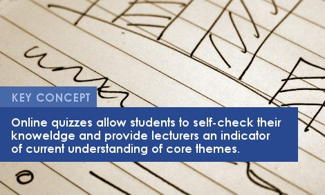 Key Concept: Online quizzes allow students to self-check their knowledge and provide lecturers an indicator of current understanding of core themes.