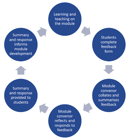 Circular flowchart depicting the following steps, forming a continuous cycle: 1, Learning and teaching on the module. 2, Students complete feedback form. 3, Module convenor collates and summarises feedback. 4, Module convenor reflects and responds to feedback. 5, Summary and response provided to students. 6, Summary and response informs module development - Repeat.