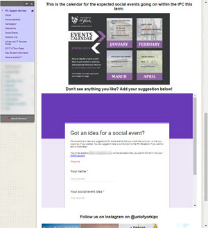 Example of embedded Google Form asking for suggestions for a social event.