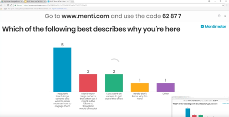 Mentimeter screenshot - coloured bar charts showing responses from audience
