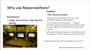 A slide from Emma Rand's presentation on Responseware