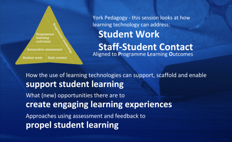 This session looks at how learning technology can address Student Work and Staff-Student contact, aligned to Programme Learning Outcomes.